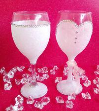 WHITE BRIDE SET GEMMED RHINESTONE  GLITTER GLASSES WEDDING BRIDESMAID GIFT