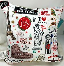 FRONTGATE International Christmas Pillow USA Italy France Brazil UK North Pole