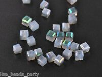 30pcs 6mm Cube Square Faceted Crystal Glass Charms Loose Beads Half Milky White