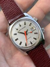 Vintage Sandoz Mechanical Mens Alarm Watch Steel Swiss Hand-winding 35mm