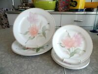 "CORELLE 7 PC. DINNERWARE SET in the FLOWERED ""PACIFICA"" PATTERN"