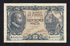 F.C. 25 PESETAS 1940 , SERIE A , EBC- , DOBLEZ CENTRAL Y ESQUINA DOBLADA .