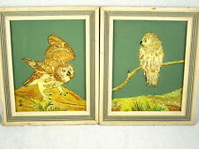 PAIR Vintage Reverse Painted Tinsel / Foil Art Owls - Signed