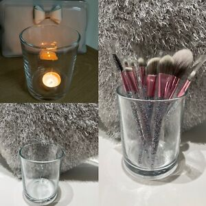 2 x Large Clear Glass Candle Jar Holders Candle Making