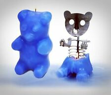 Gummi Gummy Bear Candle Burns For 100 Hours Wicked Aluminum Skeleton - Blue