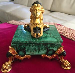 Antique MALACHITE Ormolu Dore Bronze Stone Jewelry Box