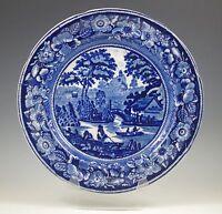 "ANTIQUE GEORGE JONES WILD ROSE  FLOW BLUE DINNER PLATE (s) 10.1/2"""