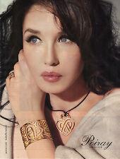 PUBLICITE ADVERTISING  2012 POIRAY  Isabelle ADJANI  bracelet  bague & pendentif