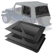2011-2016 Jeep Wrangler 2 Door Three Tinted Rear Windows in Black Diamond