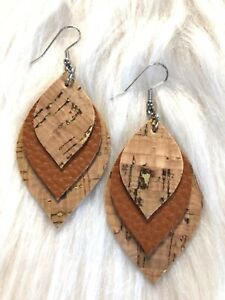 Natural Cork Gold Flake / Tan Caramel  Faux Leather Earrings Triple Layer