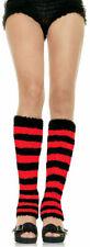 Fuzzy Red and Black Leg warmers HARAJUKU Stripe DANCE Emo Warm