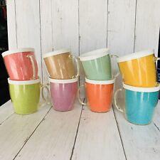 8 Vintage Raffia Ware Burlap Weave Melmac Plastic Coffee Cups Mugs 60's 70's