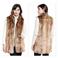 DONNA SALYERS Usa Womens Size S or AU 10 Faux Fur Vest Jacket