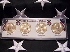 COMPLETE SET OF ALL  FOUR 2010-P PRESIDENTIAL  DOLLARS IN DISPLAY CASE