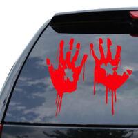 2X autocollant de voiture d'impression de main rouge Zombie Creepy Halloween