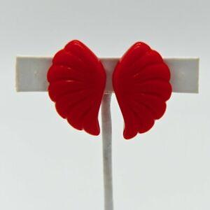 Vintage RETRO Pinup Bakelite CHERRY RED Fan Angel Wings Earrings Rockabilly Art