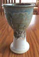Studio Pottery Wine Goblet Chalice Blue, Tan Glaze Stoneware Game of Thrones!