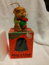 Vtg. Ring-a-Lings Collector Bell Ornament , Dog W/ Stocking
