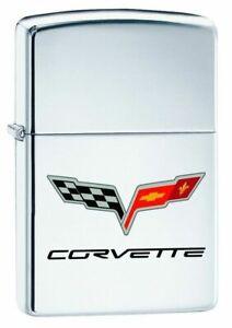 Corvette Zippo Lighter Corvette Flag Logo - High Polish Chrome