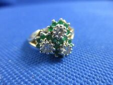 VINTAGE 14K YELLOW GOLD EMERALD AND DIAMOND RING       SIZE 5