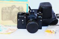 ZENIT ET BLACK Edition RARE Soviet SLR film camera w/s lens Helios 44M SUPER