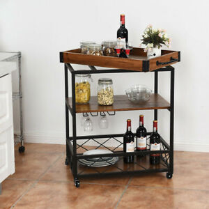 Rolling Kitchen Cart Service Bar Industrial Glass Rack Wood Tray Home Furniture