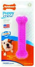 Nylabone Puppy Teething Chew Textured Bone Chicken Pink XSmall