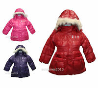 Girls Fur Collar Hooded Puffer Warm Winter Girls Cozy Quilted Padded Jacket Coat