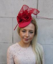 Red Rose Flower Feather Pillbox Hat Hair Fascinator Wedding Races Ascot 5181