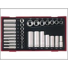 """Teng Tools 1/4"""" 3/8"""" Sq Square Drive 32 Piece AF Deep Regular Socket Tool Set"""
