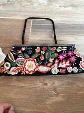 SANTI Black Floral Embrodery Hand Beaded Clutch Handbag $189 Nwt Dust Bag