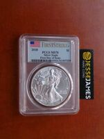 2018 SILVER EAGLE PCGS MS70 FLAG FIRST STRIKE FIRST DAY OF ISSUE FDI
