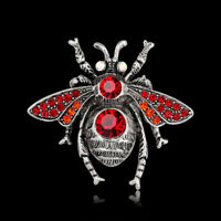 Rhinestone Crystal Red Bee  Animal Insect Pin and Brooch