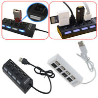 1Pc 4-Port USB 2.0 Multi Charger Hub +High Speed Adapter ON/OFF Switch Laptop/PC