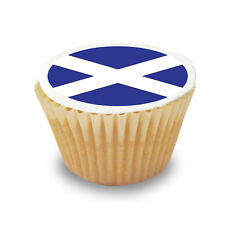 15 x Scotland / Scottish Flag Pre Cut Cupcake Toppers Premium Sugar Icing Sheet
