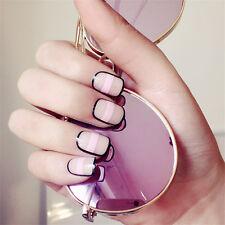 24pcs Set Pre Design Nail Tips Acrylic False French Full Nails Art Free Glue