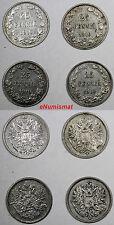 Finland Nicholas II Silver LOT OF 4 COINS 1910 L 25 Pennia Better Date KM# 6.2