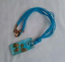 Stunning blue glass murano style rectangular sparkle necklace aventurine