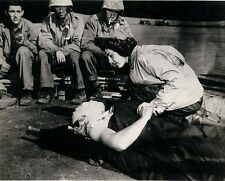 "Flight Nurse caring for wounded Marine on Iwo Jima 8""x 10"" WWII Photo #196"