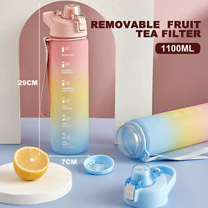 Sports Water Bottle with Motivational Time Marker,1.1Litre BPA Free Leak Proof