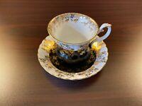 ANTIQUE ROYAL ALBERT BONE CHINA TEA CUP & SAUCER - BALCK, WHITE & GOLD
