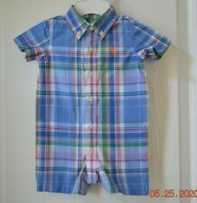 Ralph Lauren Baby Boy Blue Cotton Plaid Short Romper 3 Months Reg. $35