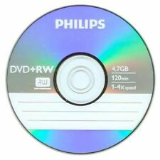 10 PHILIPS 4X DVD+RW DVDRW ReWritable Disc 4.7GB Branded Logo in Paper Sleeve