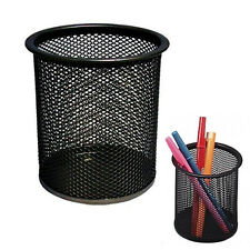 Black Steel Mesh Desk Pen Pencil Organiser Cup Holder Office School Supplier LW