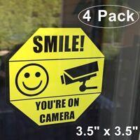 4 Home Security SMILE YOU'RE ON CAMERA Window Door Warning Vinyl Sticker Decal