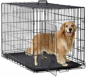 BestPet 48 inch Large Dog Crate Dog Cage Dog Kennel Metal Wire Double-Door Foldi