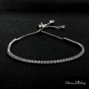 Adjustable Cubic Zirconia CZ Silver Tennis Bridal  Wedding Bracelet Jewellery Uk