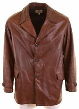 ARMANI JEANS Mens Leather Jacket Size 42 XL Brown  DC10