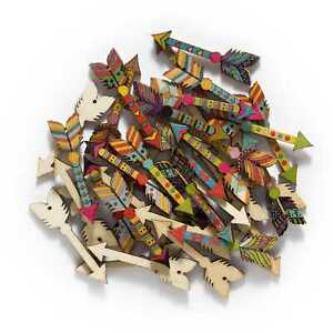 30pcs Indian Theme Arrow Wooden buttons Scrapbooking Sewing Crafts Making Decor