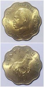 Tanzania 10 Senti 1977-1984 zebra animal 25mm brass coin UNC 1pcs